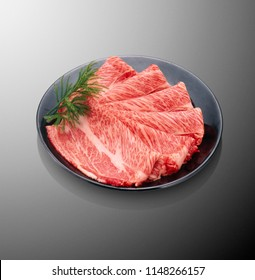 Premium Japanese wagyu beef sliced on plate for sukiyaki