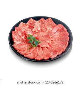 Premium Japanese wagyu beef sliced on plate for yakiniku