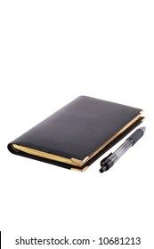 A premium leather-covered notepad and a gel pen isolated on white