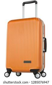 Premium orange travel suitcase with wheels. Trolley bag diagonal view.