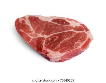premium pork scotch fillet steak isolated on white