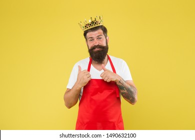Premium quality. Kingdom of tastes. Chief cook and professional culinary. Cook food. Cook with beard and mustache yellow background. Royal recipe. Man king cook wear cooking apron and golden crown.