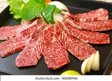 Premium raw japanese beef sliced on plate