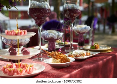 premium seafood lobster with xo spicy sauce on buffet banquet table with red cloth