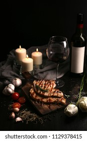Premium steak served with red wine for luxury main course in special occasion like a wedding aniversary, chrismas holiday celebration.