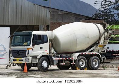 Premixed concrete mixer truck ready for the job.