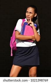 Prep Girl Student Wondering Wearing School Uniform