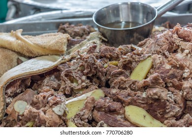 Preparation of beef and stomach has been boiled to be mixed with soup. good intake of soup for human health.
