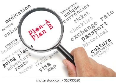 Preparation before traveling conceptual, focus on the word Plan A, Plan B