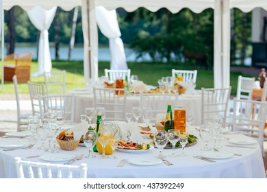 Preparation for a buffet, catering service. Restaurant table with food at event