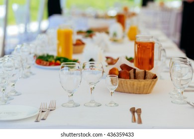 Preparation for a buffet table. Catering service