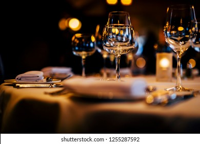 Preparation for Christmas  dinner and new eve dinner. Luxury design for a new year celebration.