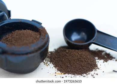 Preparation of coffee beans and ground coffee.