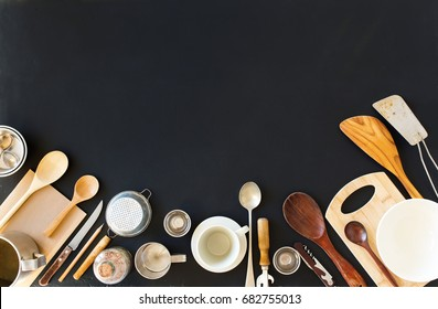 Preparation Cooking Accessories Kitchen Composition Black Table Wooden Metal Dishes Ware Different Support Stuff Top View Flat Lay