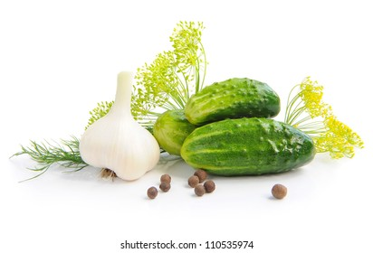 Preparation of cucumbers and greenery is to canning