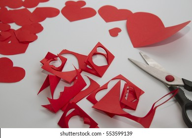 Preparation greeting cards day red paper stock photo edit now preparation of greeting cards for valentines day from red paper hearts and m4hsunfo