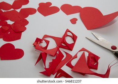 Preparation greeting cards day red paper stock photo edit now preparation of greeting cards for valentines day from red paper hearts and scissors m4hsunfo