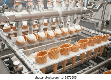 Preparation of ice-cream on factory