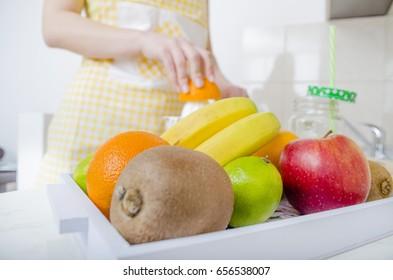 Preparation of juice. Healty lifestile