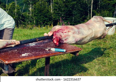 Preparation of lamb meat in spit. Selective focus