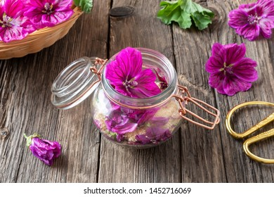 Preparation of mallow herbal syrup from fresh flowers of Malva sylvestris var. mauritiana