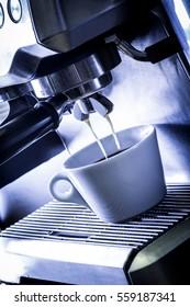 Preparation process in machine to make coffee