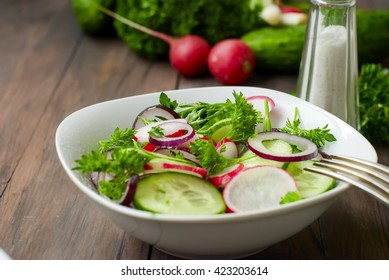 preparation of the spring salad of radishes, cucumbers. healthy eating concept