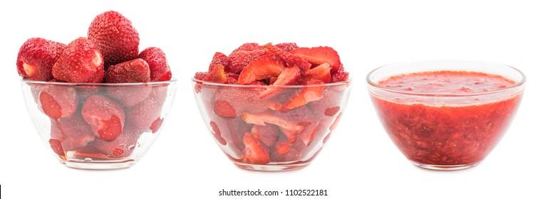 Preparation of strawberry jam. Fresh juicy strawberries in glass bowl. Chopped strawberries in glas bowl isolated on white background. Homemade strawberry jam.  Sweet food nature.