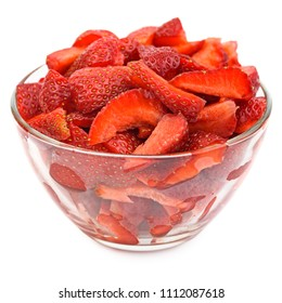 Preparation of strawberry jam. Fresh juicy strawberries in glass bowl. Chopped strawberries in transparent glas bowl isolated on white background. Homemade strawberry jam.  Sweet food nature.