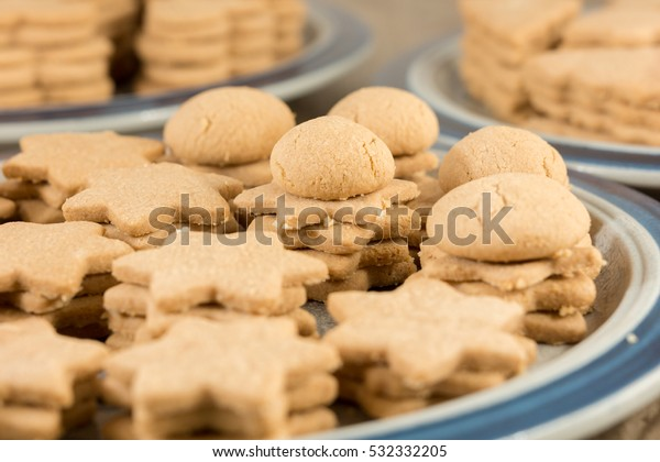 German Christmas Cookies.Preparation Traditional German Christmas Cookies Stock Photo