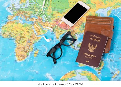 Preparation for travel, Smart phone, wallet, passport and map for vacation time