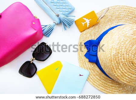 Preparation Vacation Hat Glasses Passport Cosmetic Stock