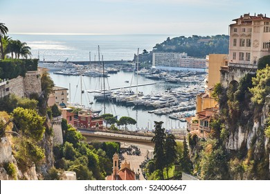 Preparation for a World Fair of the yacht show Monaco from railway station Monaco, is placed by megayachts, MYS, on the horizon yachts, the old city of Monaco
