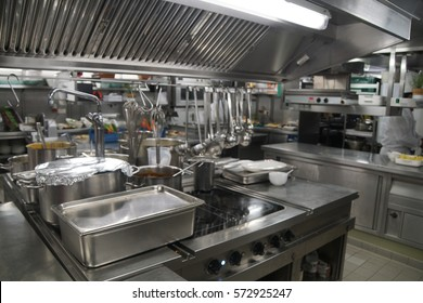 Preparations and utensils of the kitchen of a river cruise ship, Germany