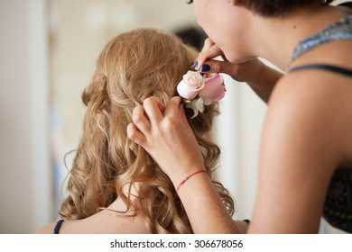 preparations for the wedding ceremony the bride, hairstyle, makeup, beauty