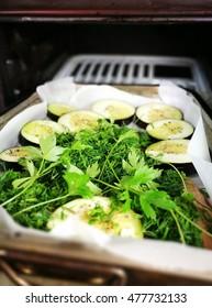 Prepare mackerel fish with eggplant.