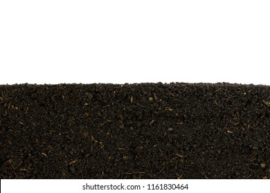 Prepare the soil for planting. Organic fertilizer and  soil  texture background. Cross sectional.   side view.