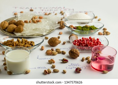 Prepare Traditional Turkish Ramadan Dessert Gullac with;Gullac sheets,rose water,walnuts,hazelnuts,pistachio,milk,pomegranate seeds and sugar.Oldest and very light dessert.
