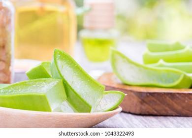 Prepared aloe vera slice use in spa for skincare