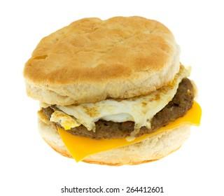 A prepared breakfast sandwich on a white background.
