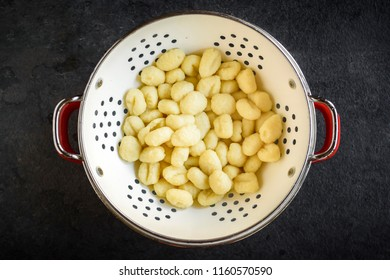 Prepared and cooked gnocchi,mushrooms and gnocchi dish,selective focus