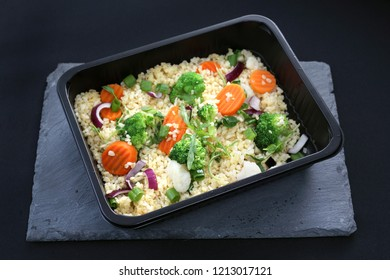 Prepared dinner dish, a dish packed in a box.
