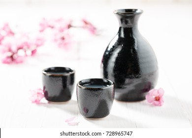 Prepared to drink sake on white table