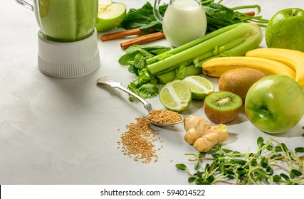 Prepared ingredients for smoothies rich in vitamins and minerals is very useful for health and a healthy lifestyle