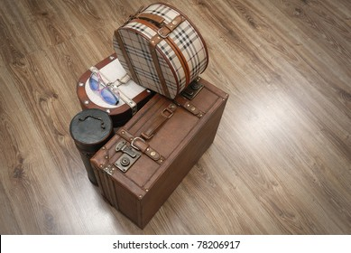 Prepared Luggage and Suitcases for holiday at home from top