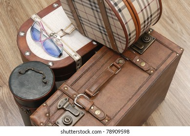 Prepared Luggage and Suitcases for holiday at home in diagonal view