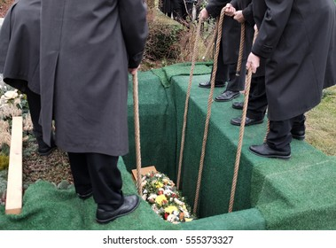 A prepared open grave for the funeral