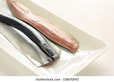 Prepared Pacific saury from Japan on dish