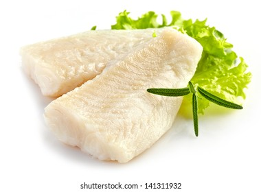 prepared pangasius fish fillet pieces isolated on white
