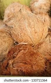 prepared ripe coconut for sale in local market